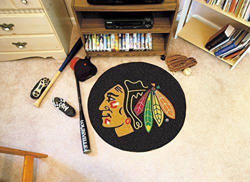 FANM-10279-FANMATS NHL Chicago Blackhawks Nylon Face Hockey Puck Rug #SportsLicensingSolutionsLLC