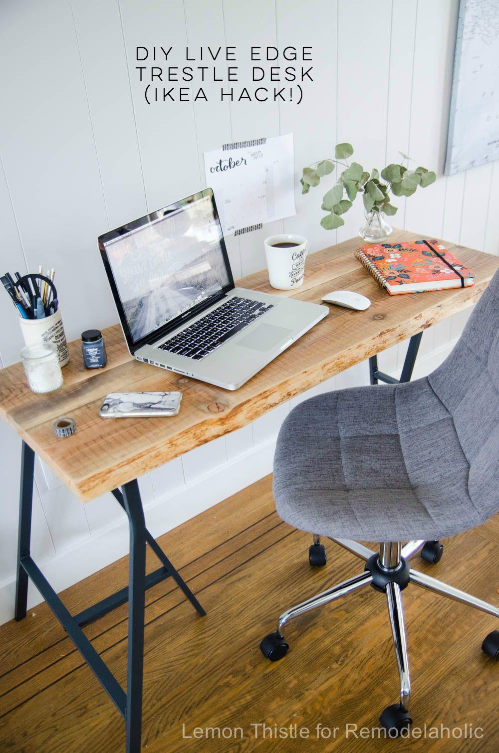 Diy Live Edge Desk With Trestle Legs I Can T Believe It S An Ikea