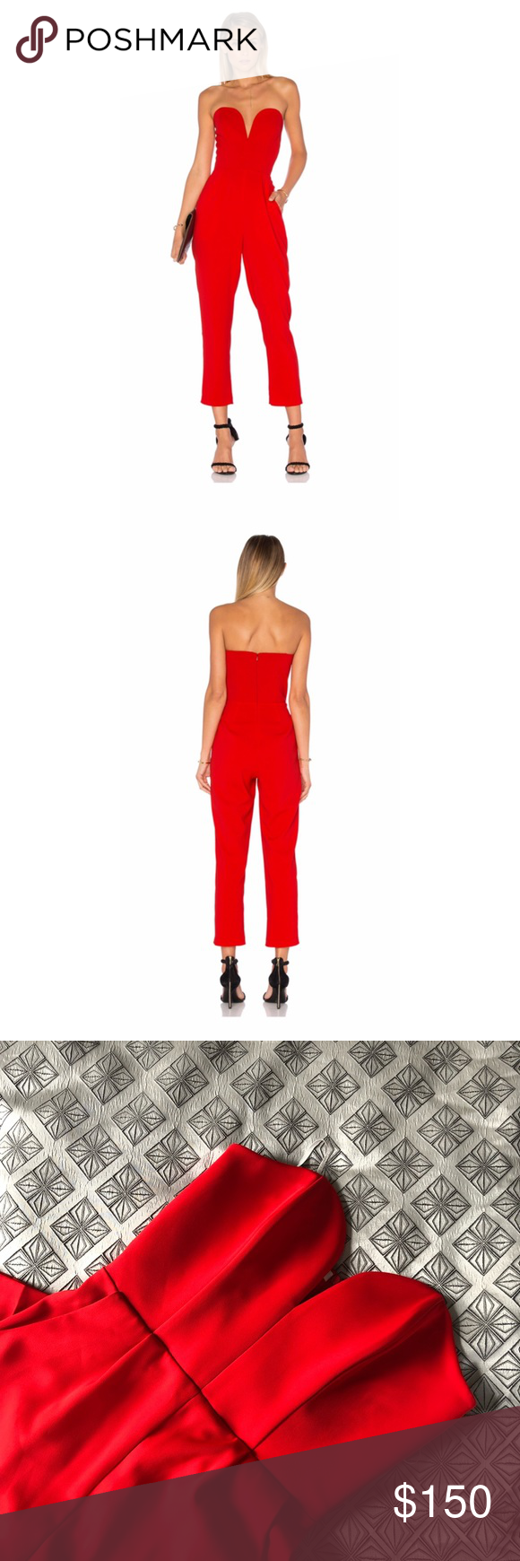 06380f98b2c Designer Red Jumpsuit Purchased from Revolve. Never worn but I did remove  the tags. Classic jumpsuit with a red color that will be sure to turn heads.