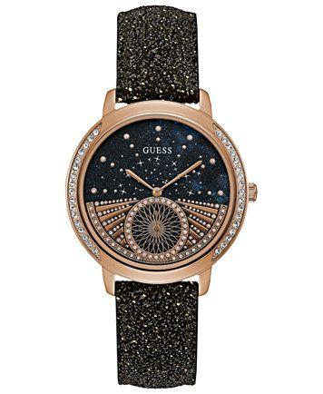76605dbea GUESS Women's Black Glitter Leather Strap Watch 40mm   macys.com Rose Gold  Watches,