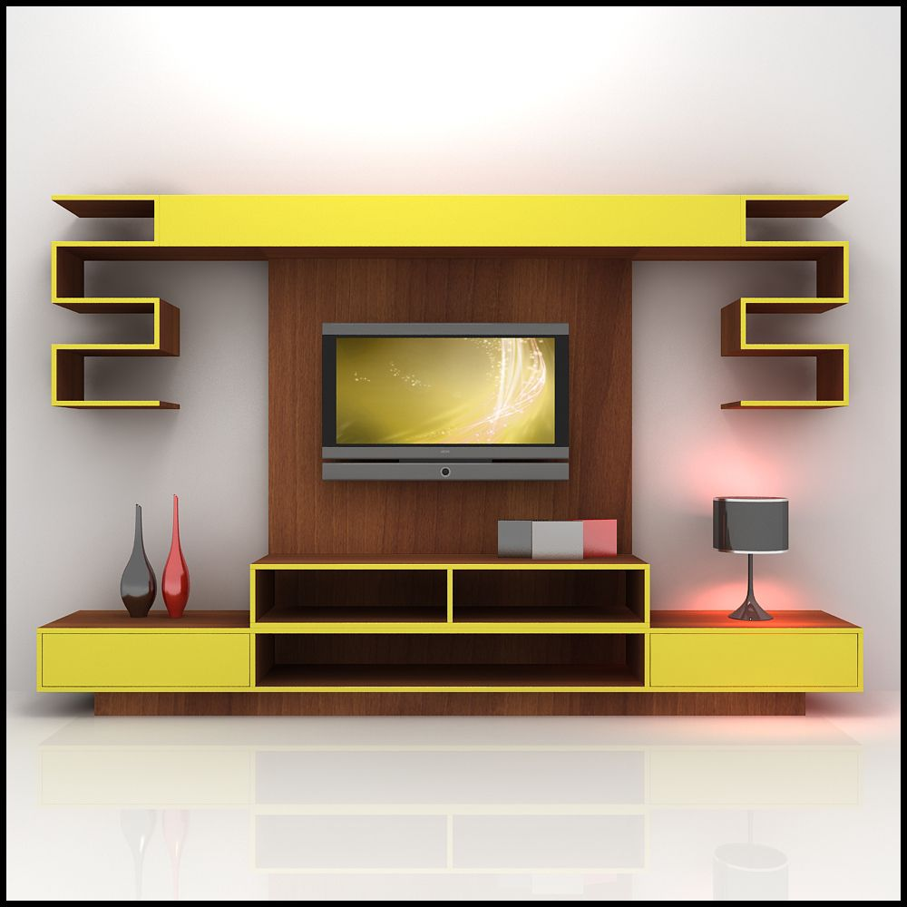 Alluring D Model Yellow And Wood Tv Wall  · Tv Unit DesignTv ...