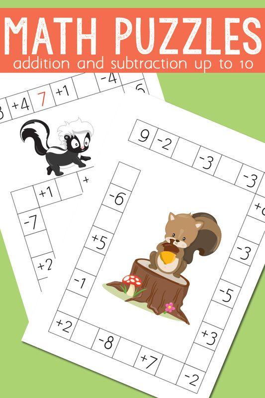 Math Crossword Puzzles Pinterest Subtraction Worksheets