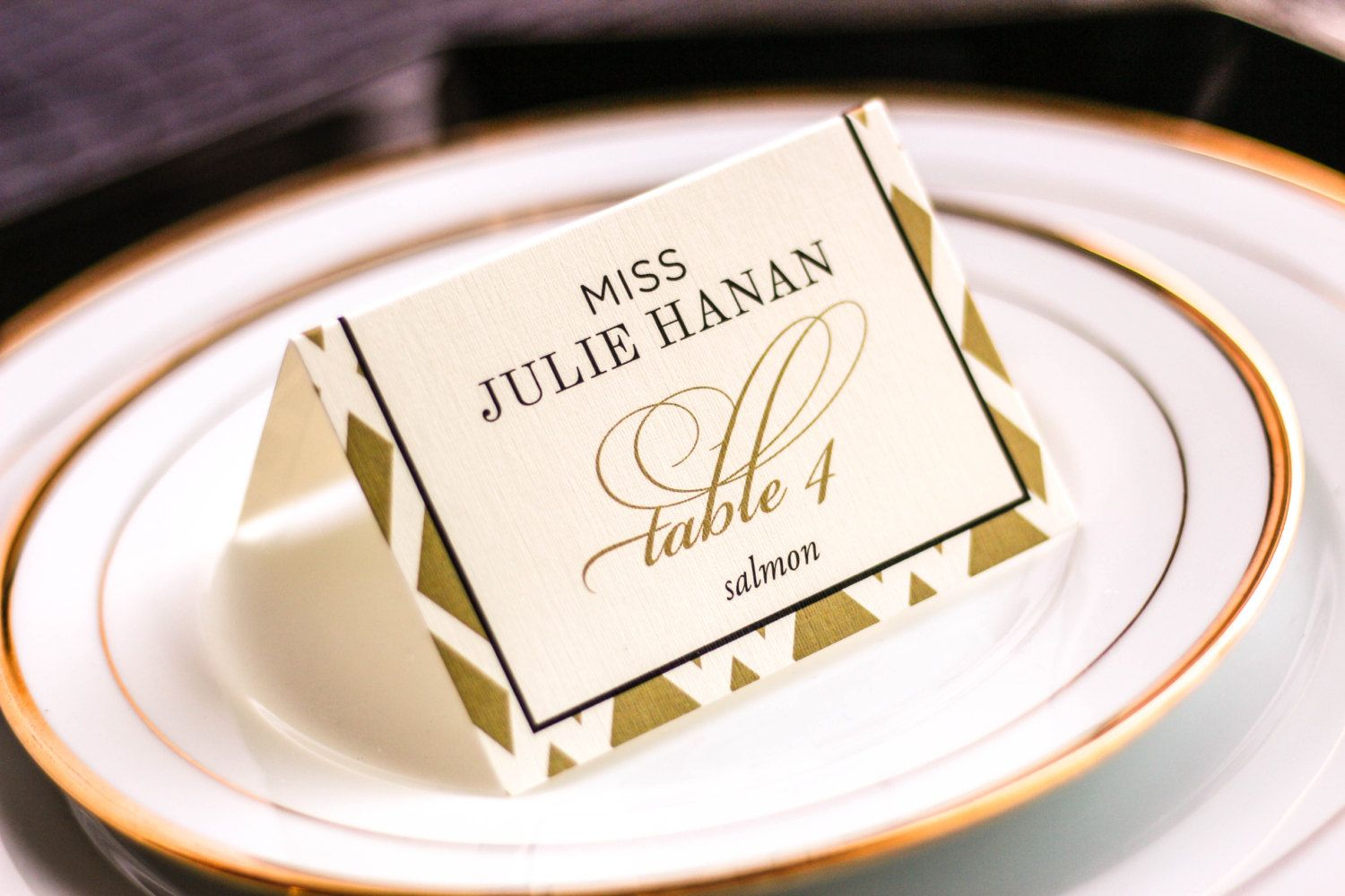 Black and Gold Place Cards, Art Deco Place Card, Folded Place Cards ...