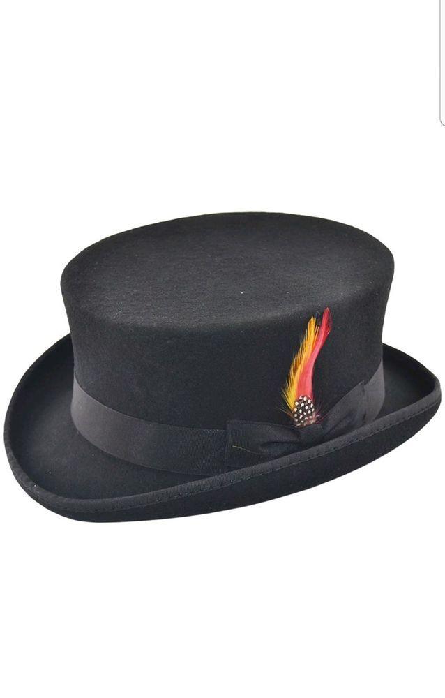 Deadman Short Topper Wedding Ascot Event 100/% Wool Felt Top Hat with Feather