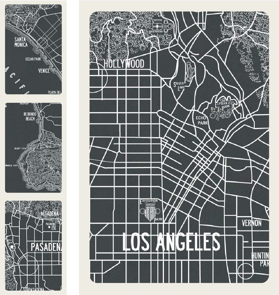 Apartment B Los Angeles Vintage Map Detail Available As A Graphic - Los angeles map vintage