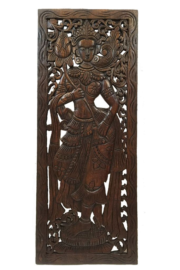 Wood Carved Wall Art. Large Carved Wood Panel. Thai Decorative Wood ...