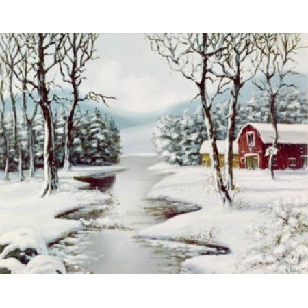 Winter rural landscape Canvas Art - (24 x 36)