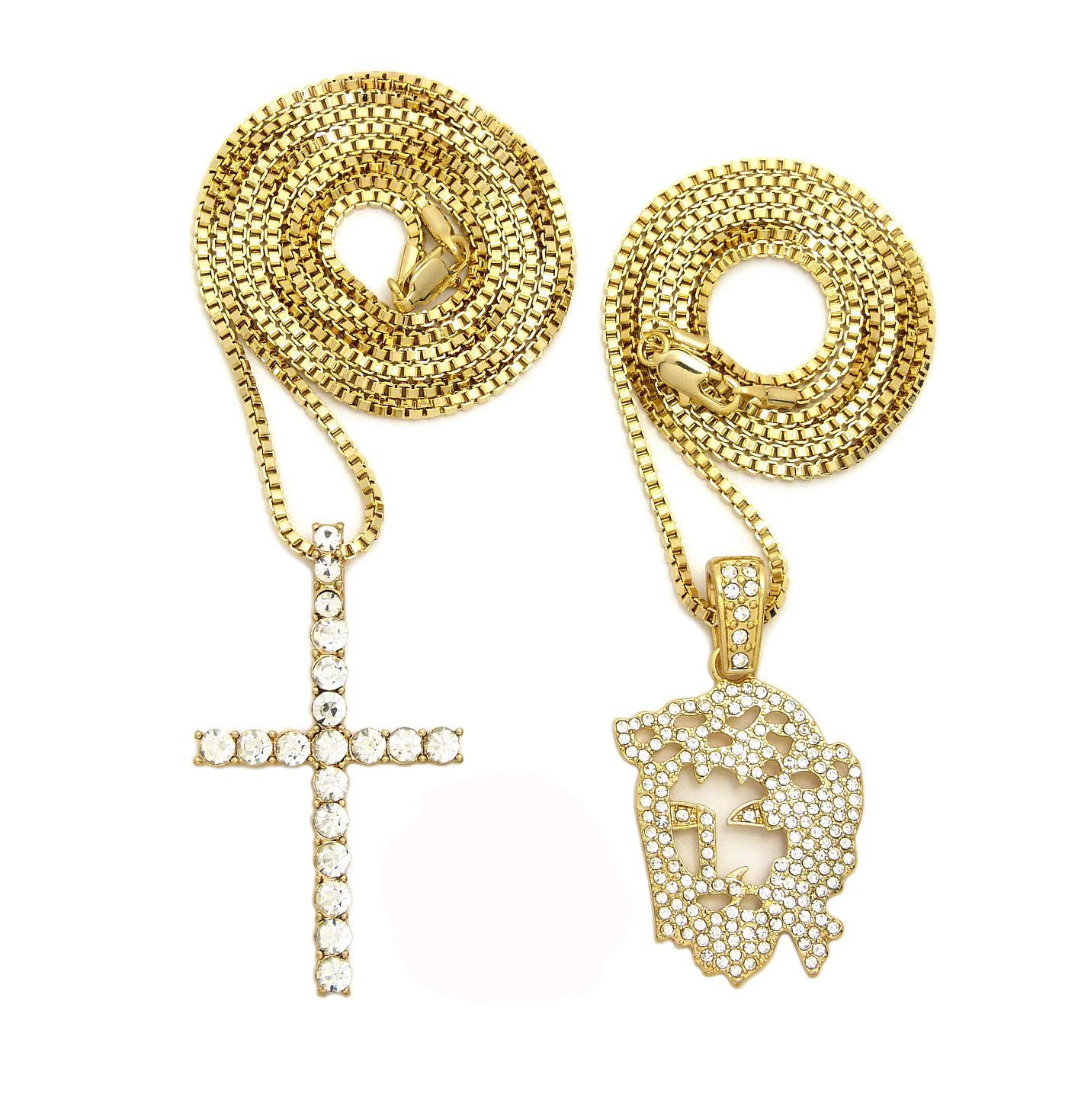 ICED OUT JESUS FACE & CROSS PENDANT NECKLACE SET
