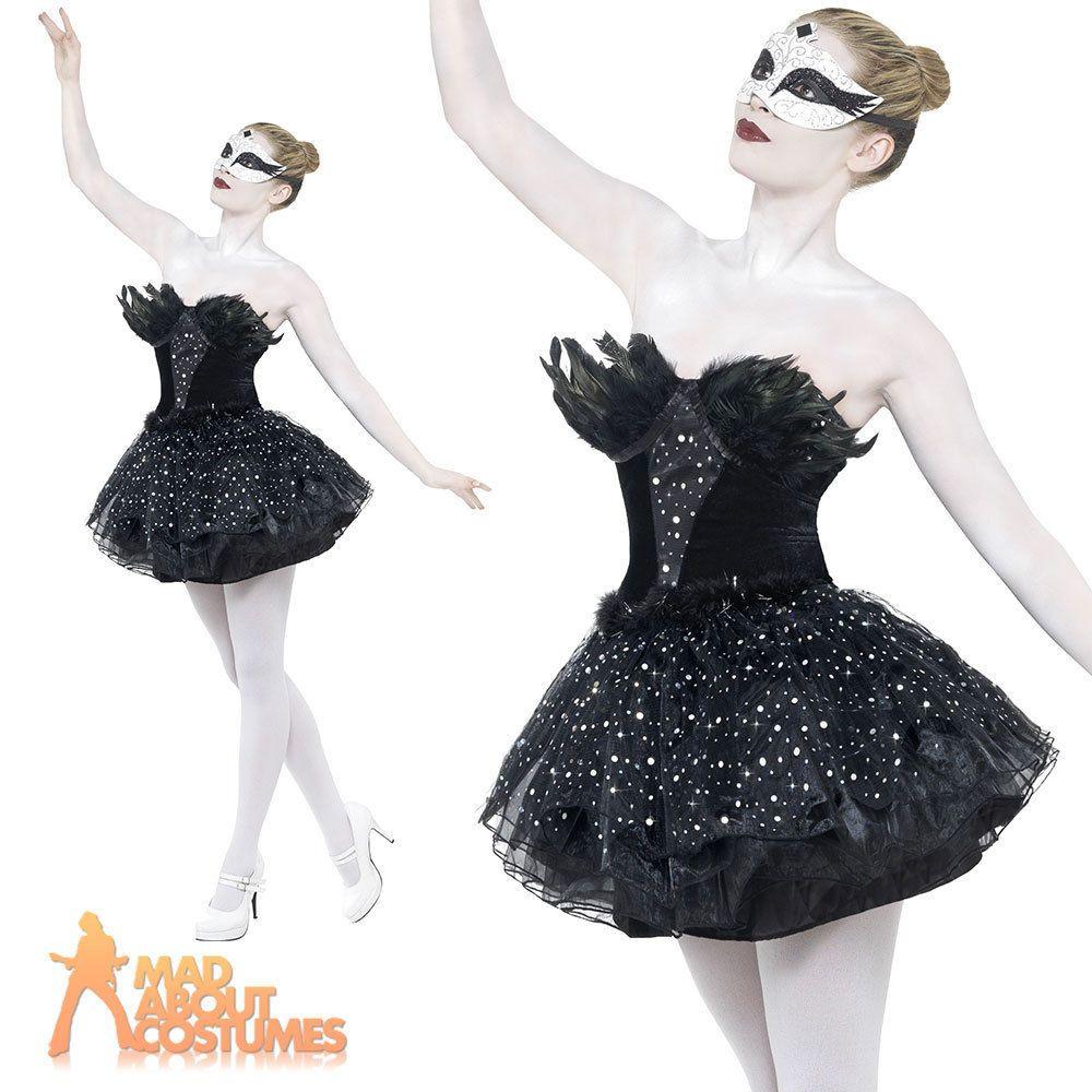 Black Swan Costume Gothic Masquerade Fancy Dress Womens Halloween ...