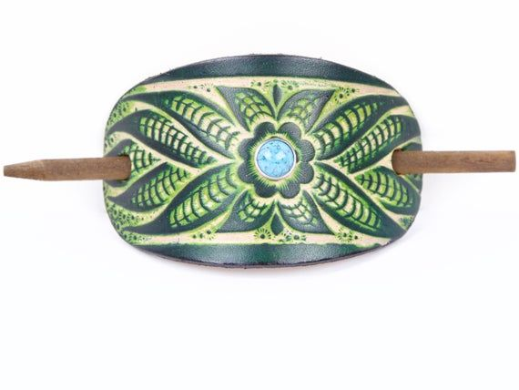 Photo of Accented Flower Power Stick Barrette – Floral Leather Hair Pin – Leather Hair Slide – Hippie Hair Accessory – Tooled Leather Hair Pin