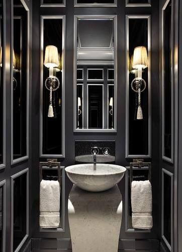 D coration int rieure salle de bain bathroom toilettes wc noir blanc gris - Decoration interieur noir blanc gris ...