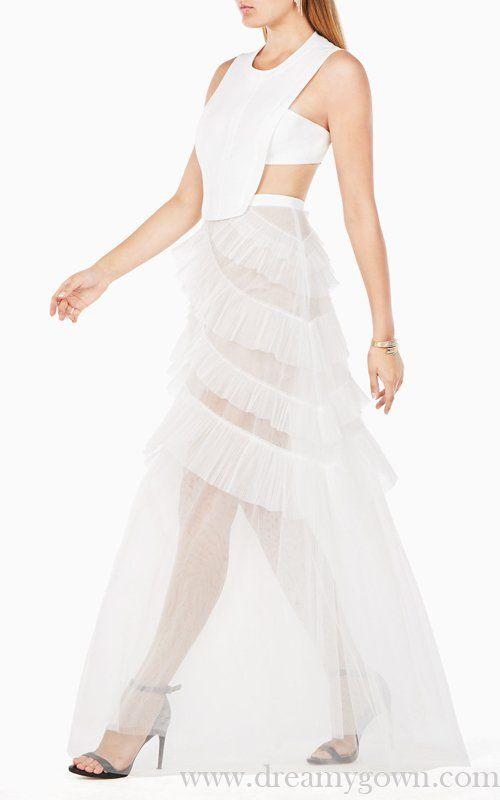8435da4c3302 2017 Avalon Sheer Cutout BCBG White Tulle Prom Dress Sexy ...