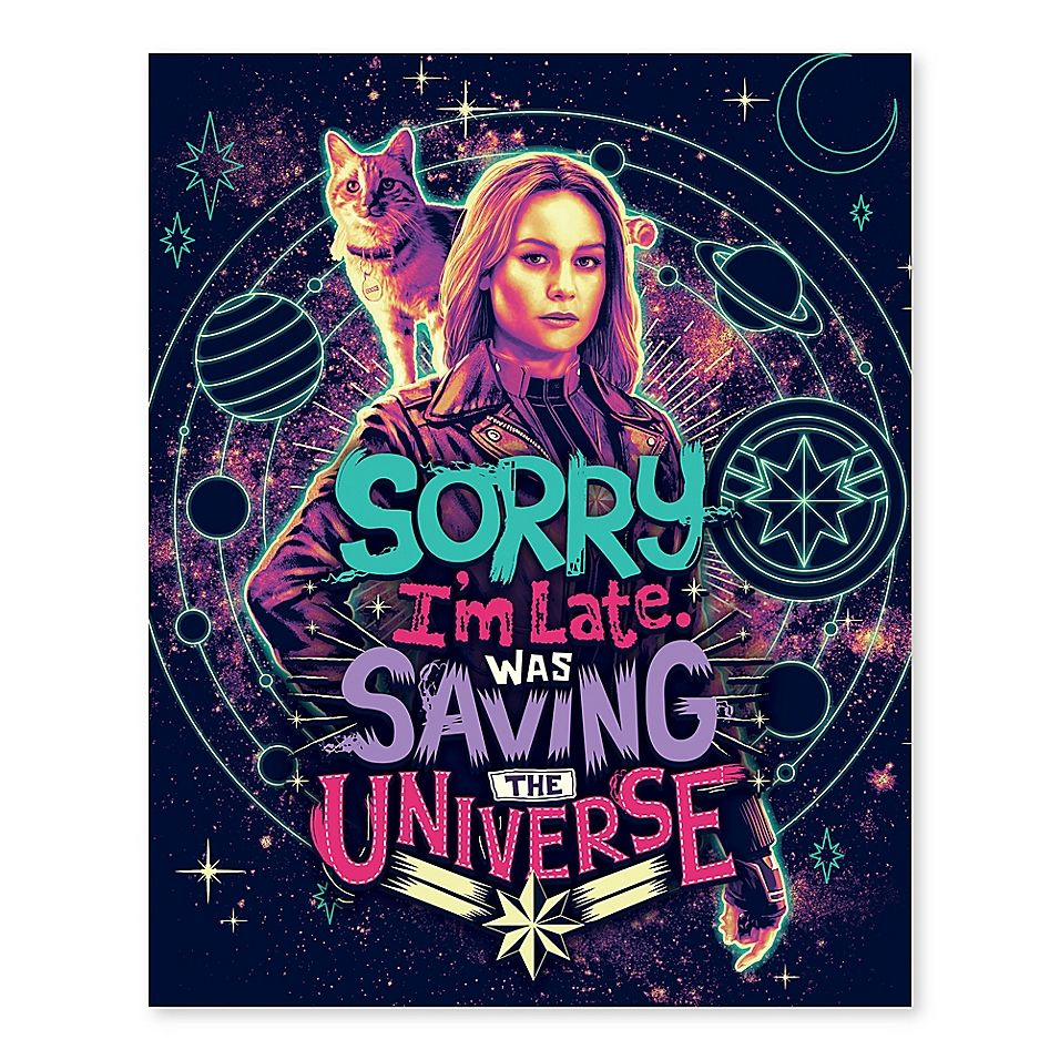 """Marvel Captain """"saving The Universe"""" 16-Inch X 20-Inch Canvas Wall Art"""