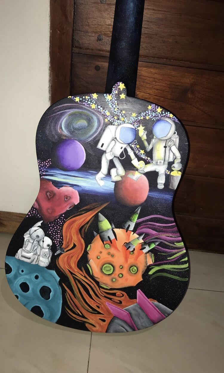 Space Wonde Colourful Painting Idea Creative Guitar Drawing Simple