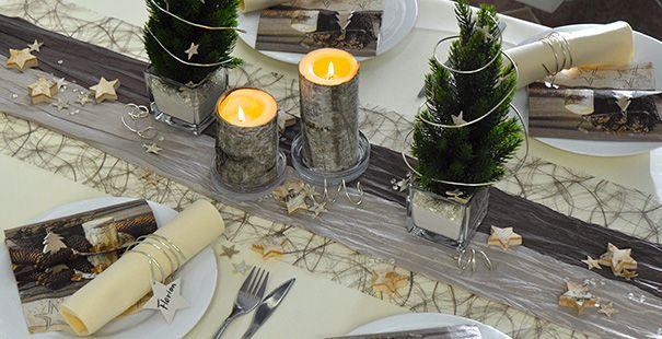 Tischdeko weihnachten braun  Tischdeko Weihnachten Stella Creme mit Birkendeko | Tischdeko ...