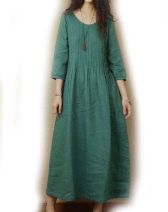 demi manches longues de lin robe vert green clothes pinterest robe robe verte et robe lin. Black Bedroom Furniture Sets. Home Design Ideas