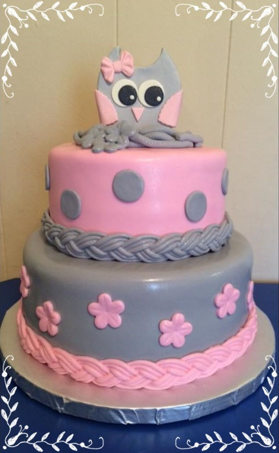 Pink U0026 Gray Owl Baby Shower On Cake Central