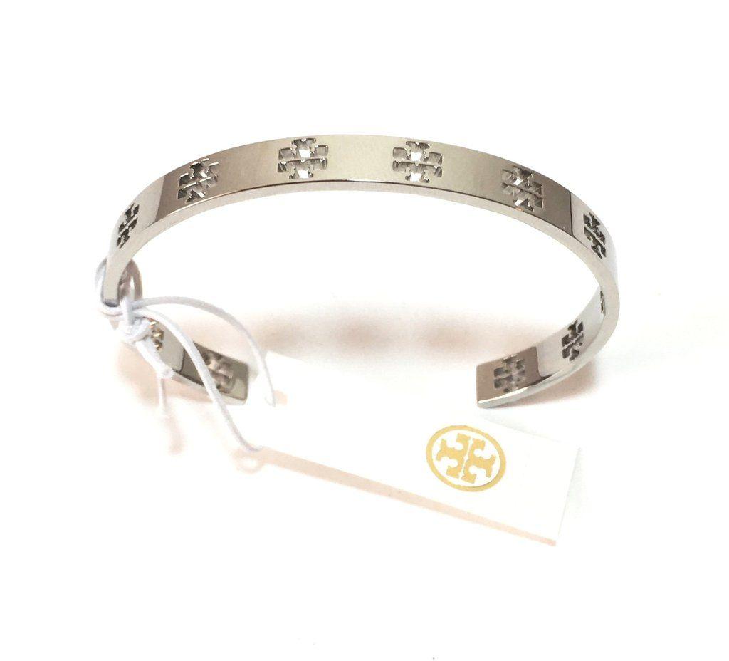 Tory Burch Silver Pierced T Cuff Bracelet Brand New
