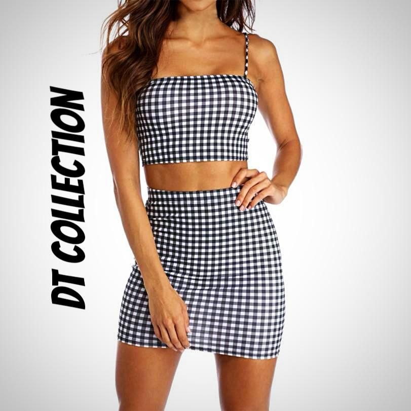 Women S 2 Piece Sleeveless Plaid Crop Top Skirt Set With Images