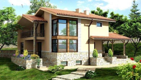 Casa cu fatada cu piatra si terasa acoperita lipita for Proiecte case cu etaj si terasa