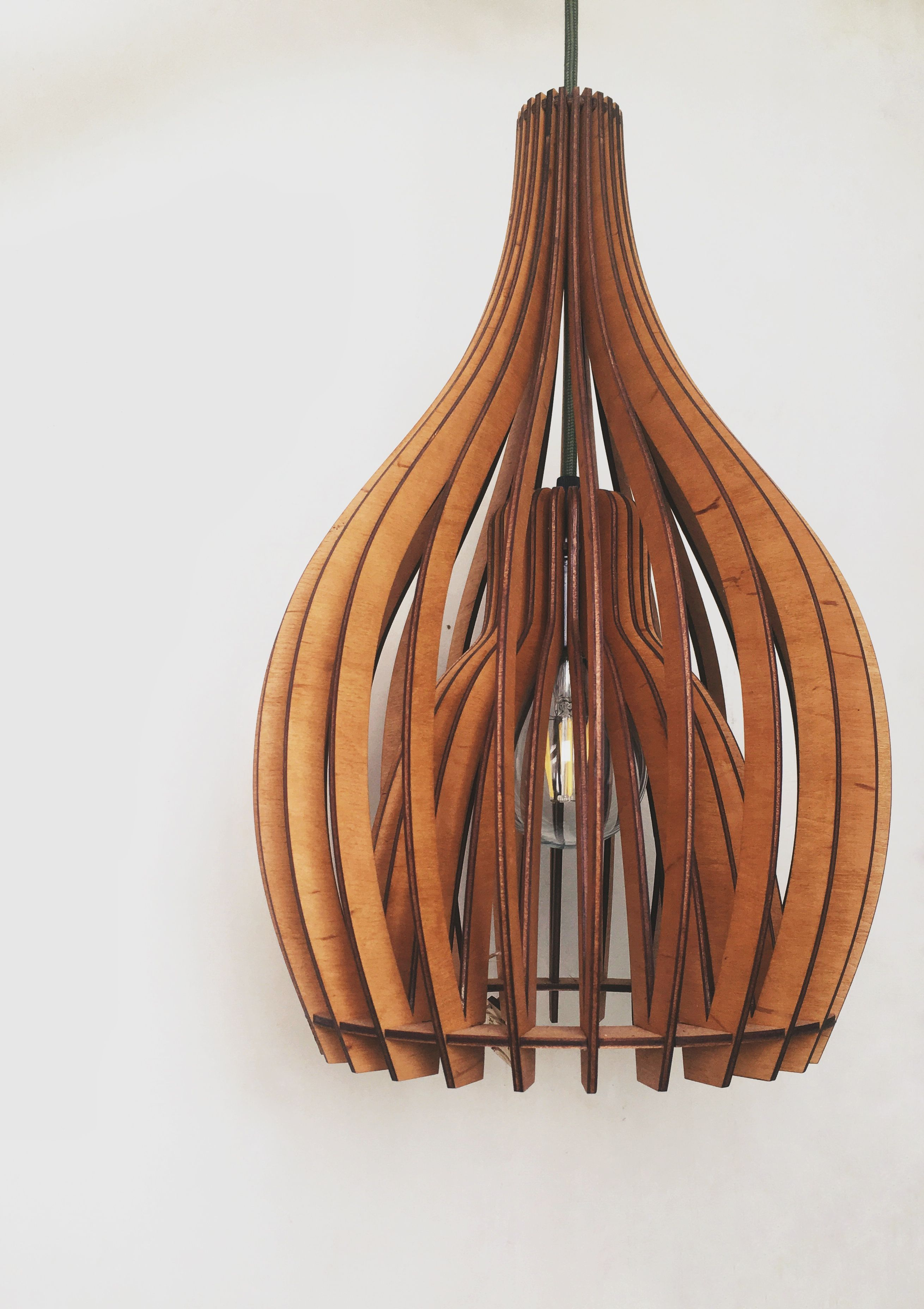 Wooden Pendant Lamp Shade Hanging Ceiling Geometric Lamp For