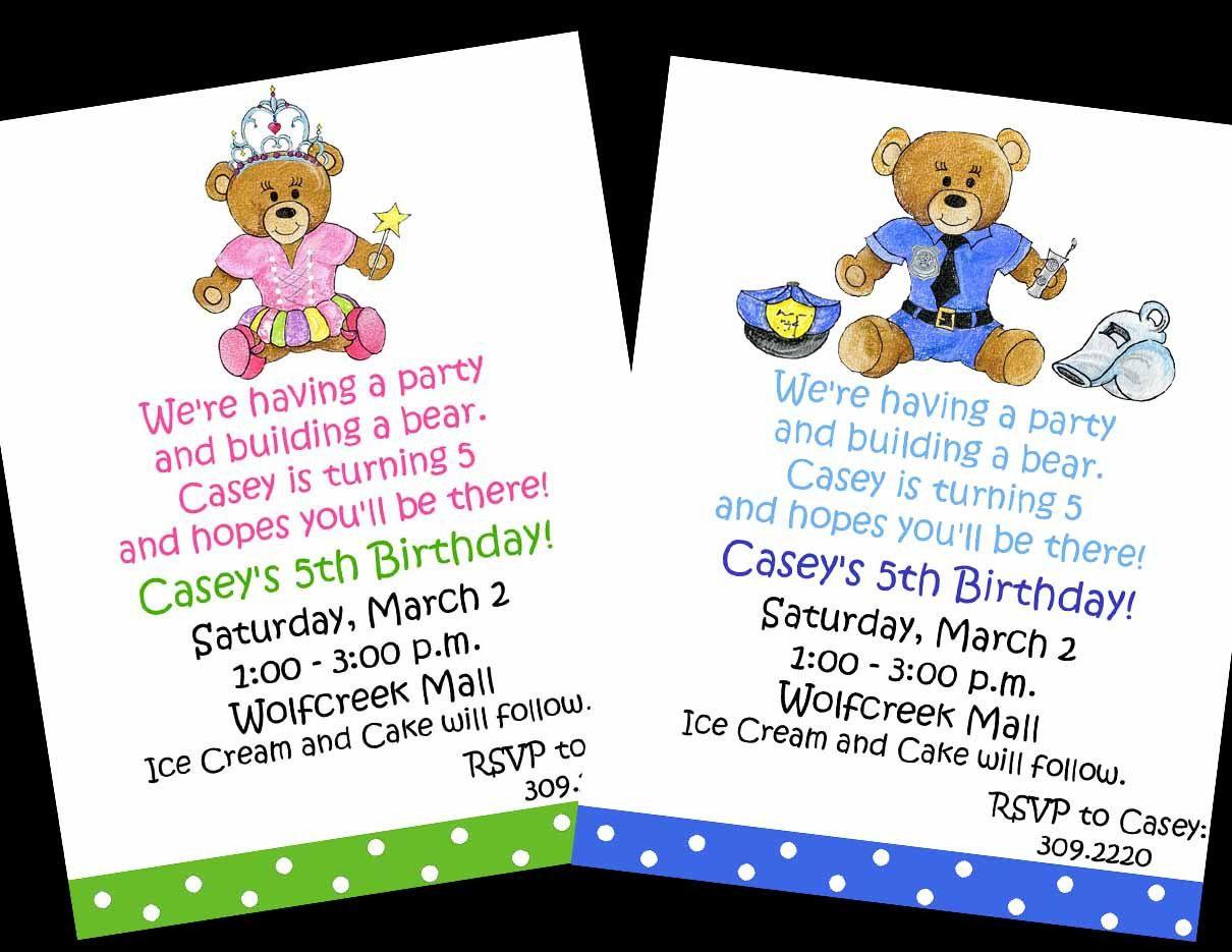 build a bear birthday invitation build a bear party boy or