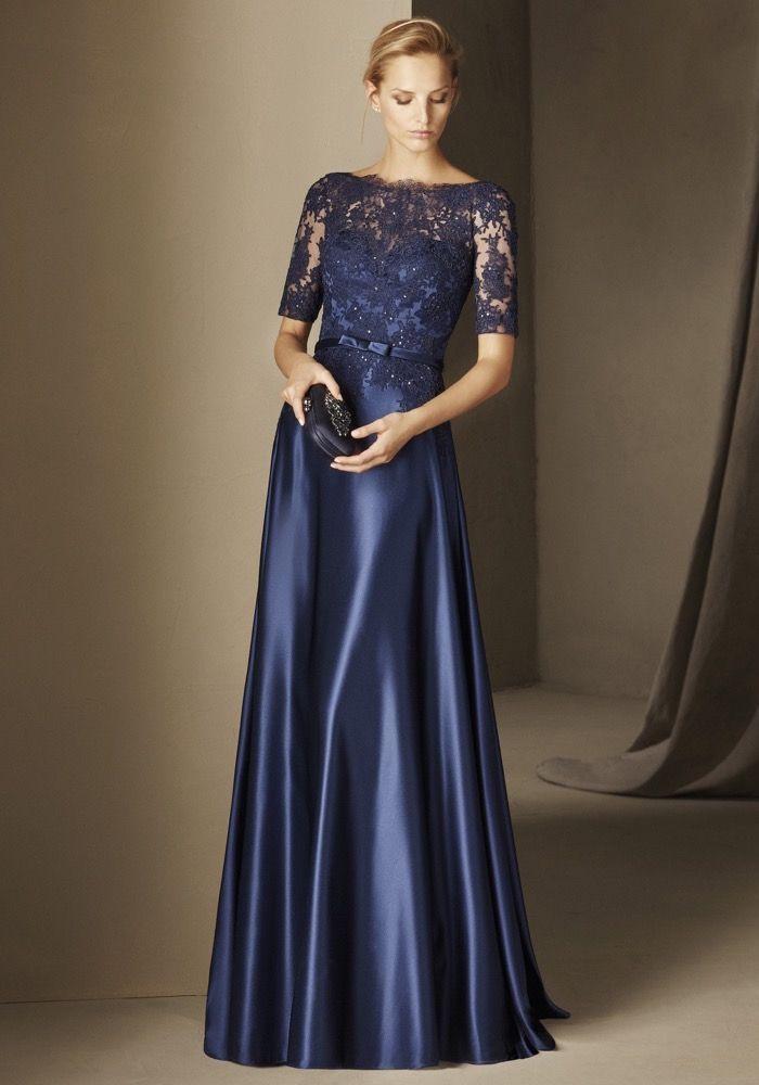 Pronovias   Beaded Navy Blue Mother of Brides Dress ...