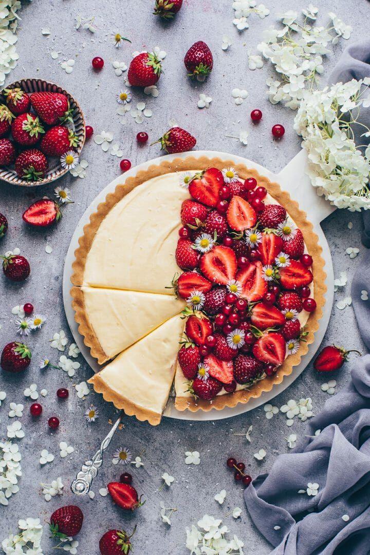 Vanille Pudding Tarte Mit Erdbeeren Rezept In 2020 Mit Bildern Rezepte Veganer Pudding Lecker
