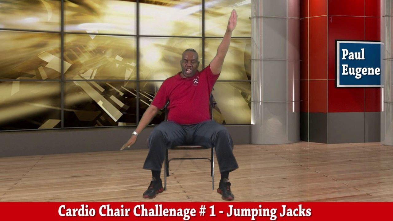 Chair Jumping Jacks Challenage Chairworkout Chair Exercises Jumping Jacks Cardio At Home