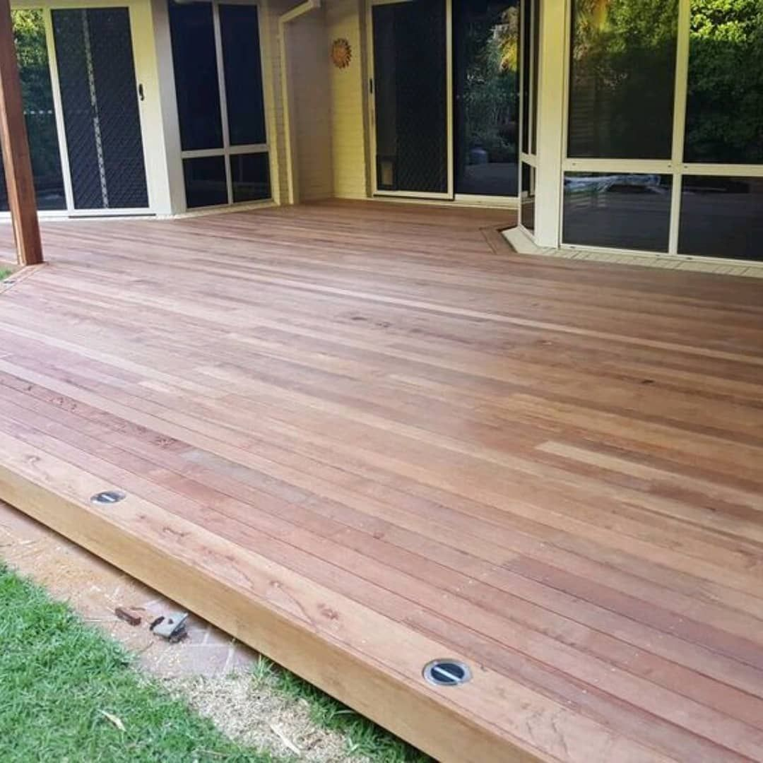 Timber Decking With Picture Frame Edging Fitted With Solar Panel Lighting Timber Deck Deck Building A Deck