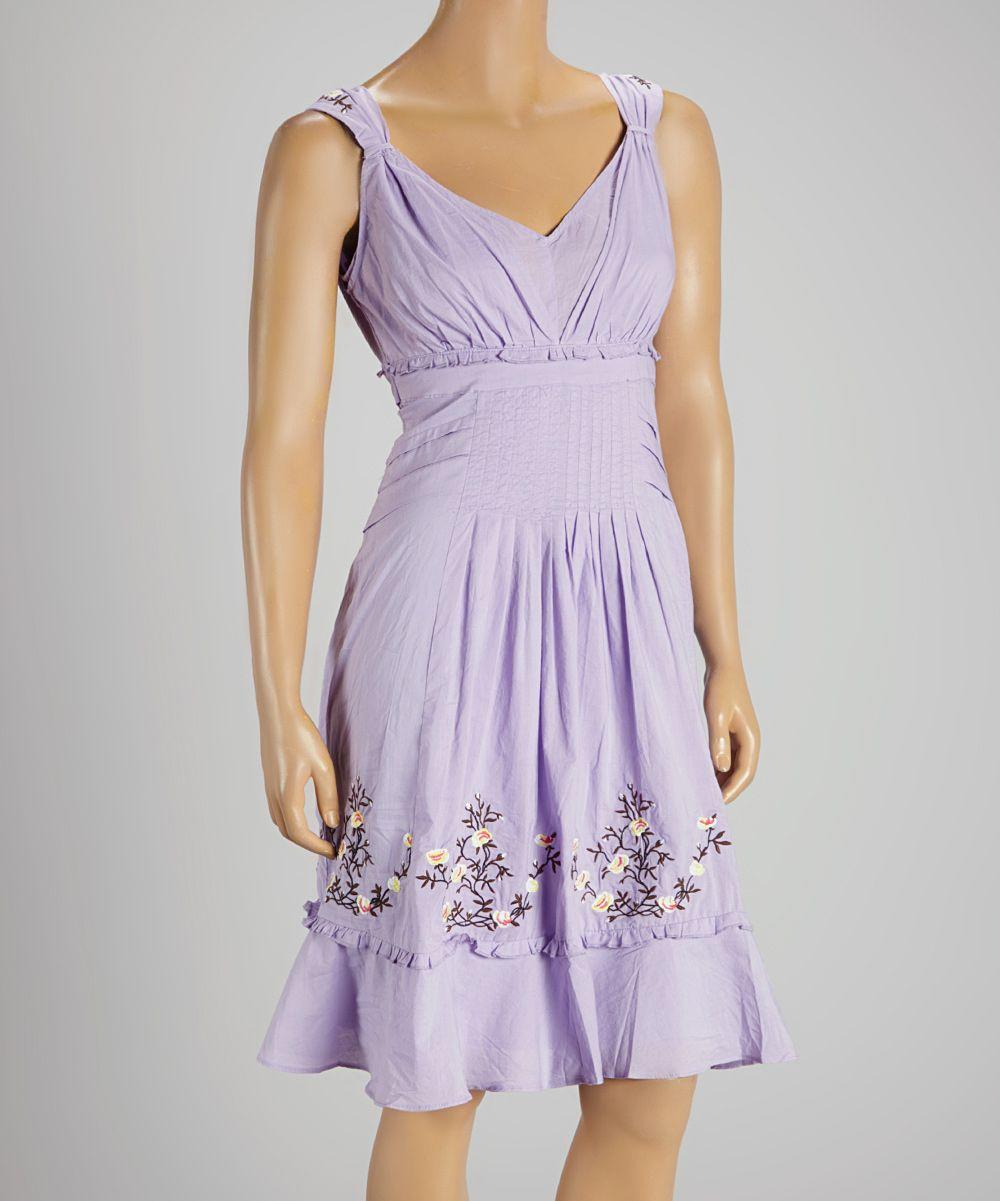purple embroidered tie-waist empire-waist dress | dresses