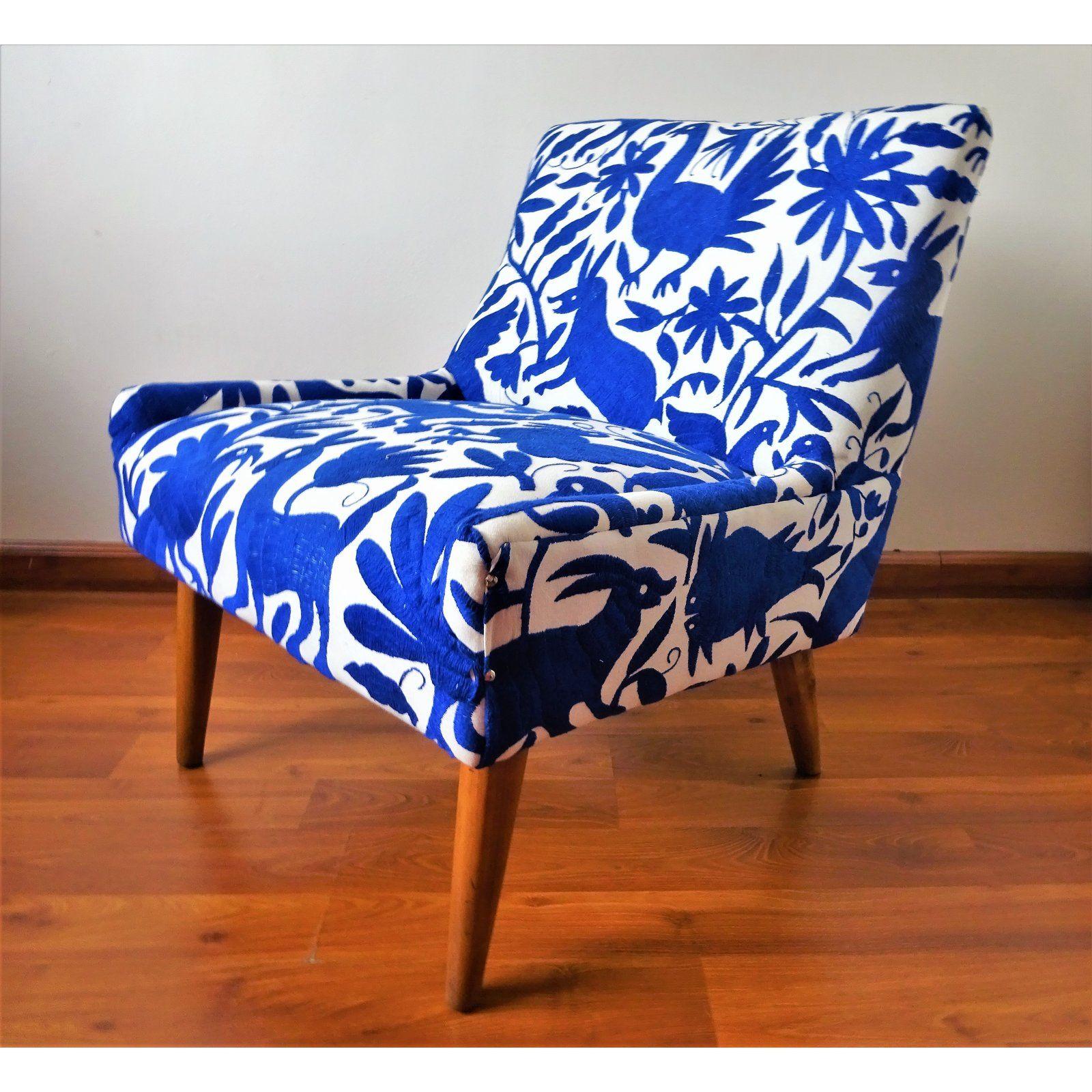 Best Mid Century Bohemian Cobalt Blue Otomi Hand Embroidered 400 x 300