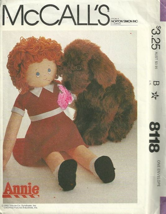 McCalls 8118 1980s Sandy and Little Orphan Annie Doll Pattern ...