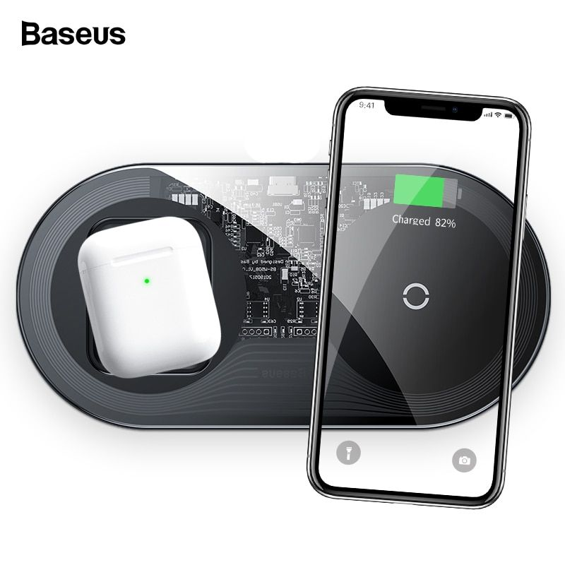 Baseus 15w Qi Wireless Charger For Airpods Iphone 11 Pro Max Xs X Dual Fast Wireless Charging