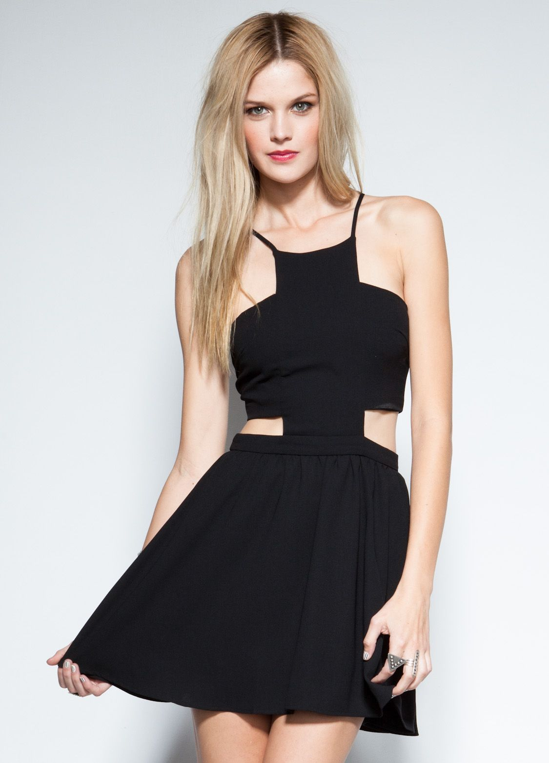 Love the structure little black dress featuring cut out and criss
