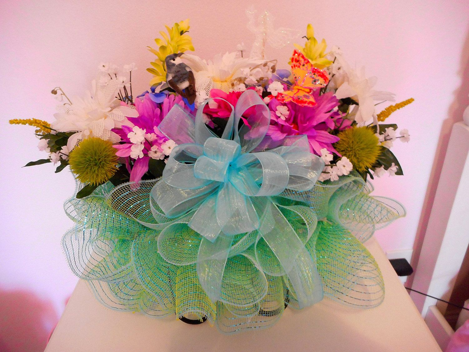 Cemetery Flower Arrangement Headstone Saddle With Deco Mesh And