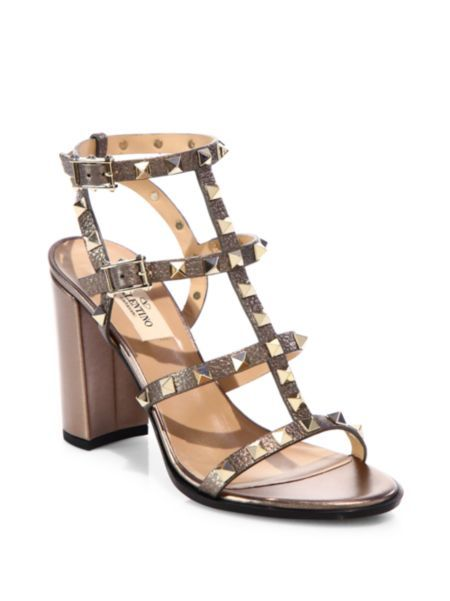 75e6c6265 Valentino - Rockstud Metallic Leather Cage Block Heel Sandals ...