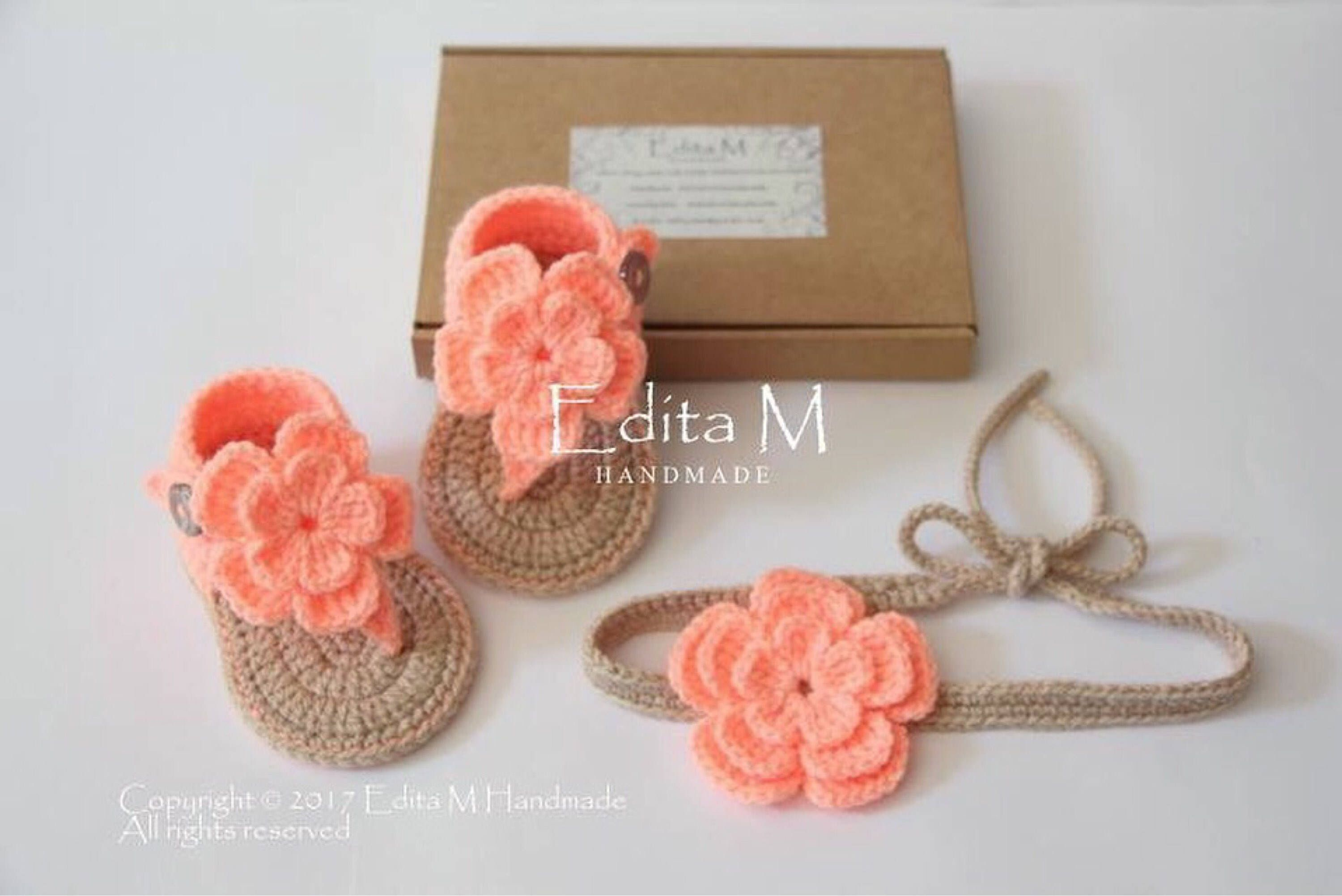Crochet baby girl set gladiator sandals tieback booties baby