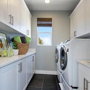 Galley Laundry Room Contemporary Laundry Room White Laundry