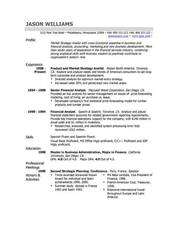 Good Simple Resume Format Freshers Sample Resume Tips Writing