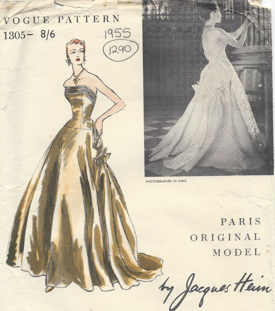 By Nina Ricci 1344 1963 Vintage Vogue Sewing Pattern B34 Vestido Y Capa
