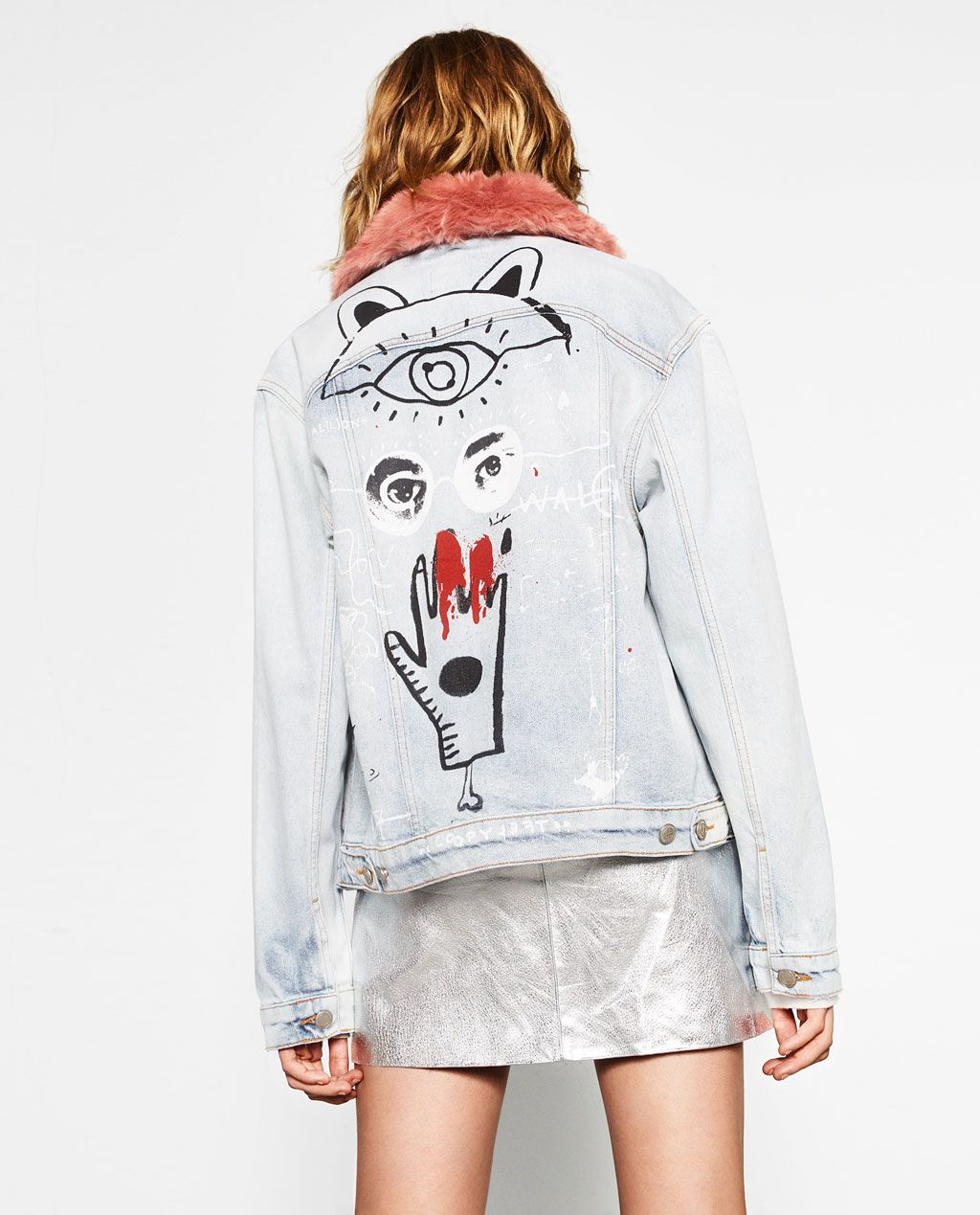 9b32d4d9fb DENIM JACKET WITH GRAFFITI-Jackets-OUTERWEAR-WOMAN | ZARA United States