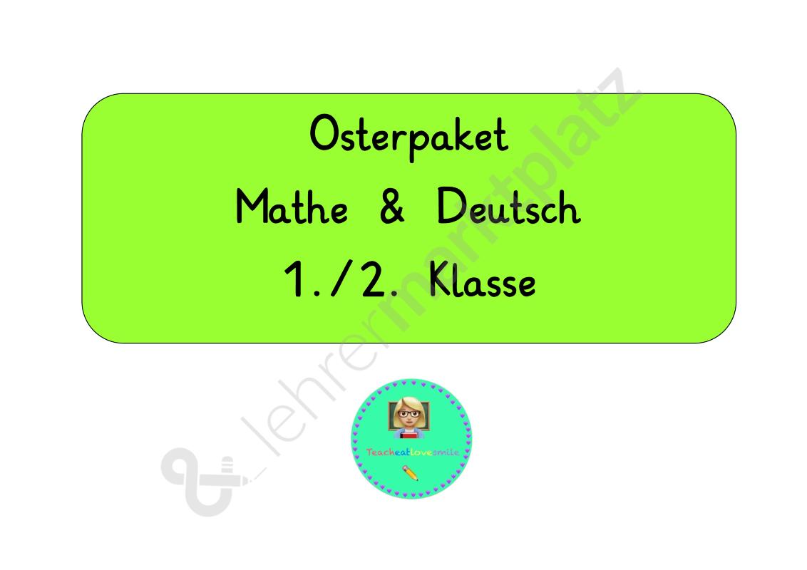 Osterpaket 1.Klasse Mathe Deutsch | teacheatlovesmile | Pinterest ...