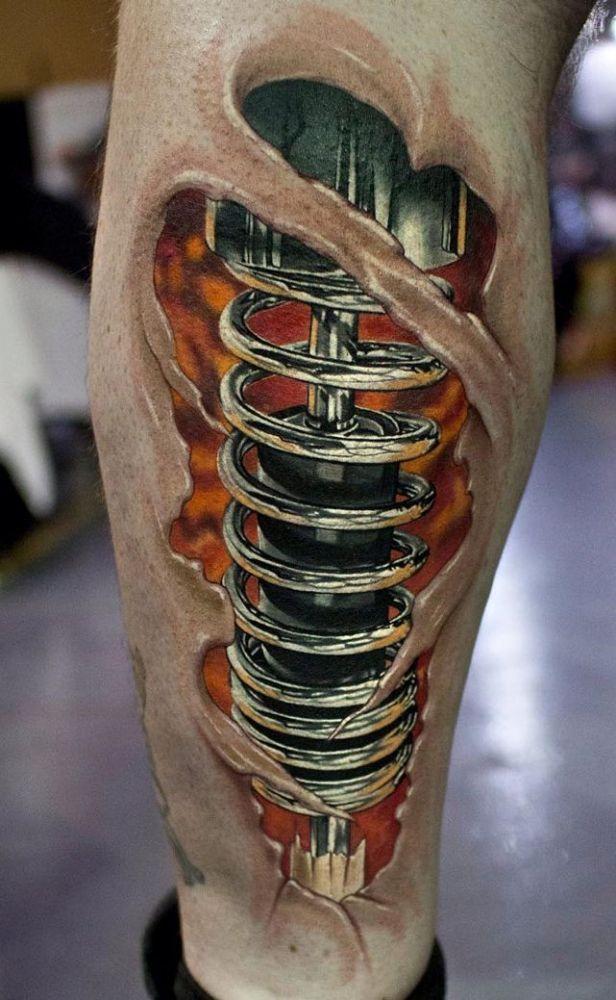 Tatuaż Na łydce Amortyzator Inked Leg Tattoos Tattoos