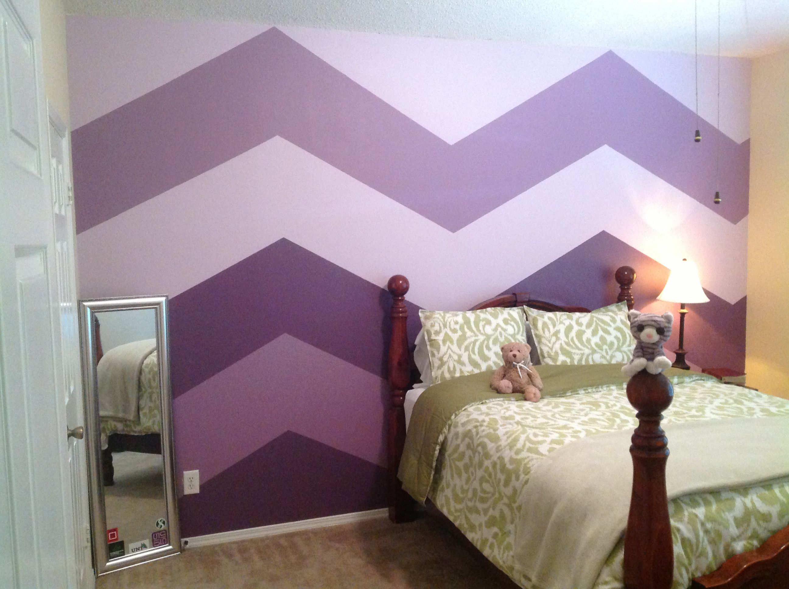 Big Bold Chevron Wall Stripes With Just 3 Shades Of Purple Paint Painters Tape And