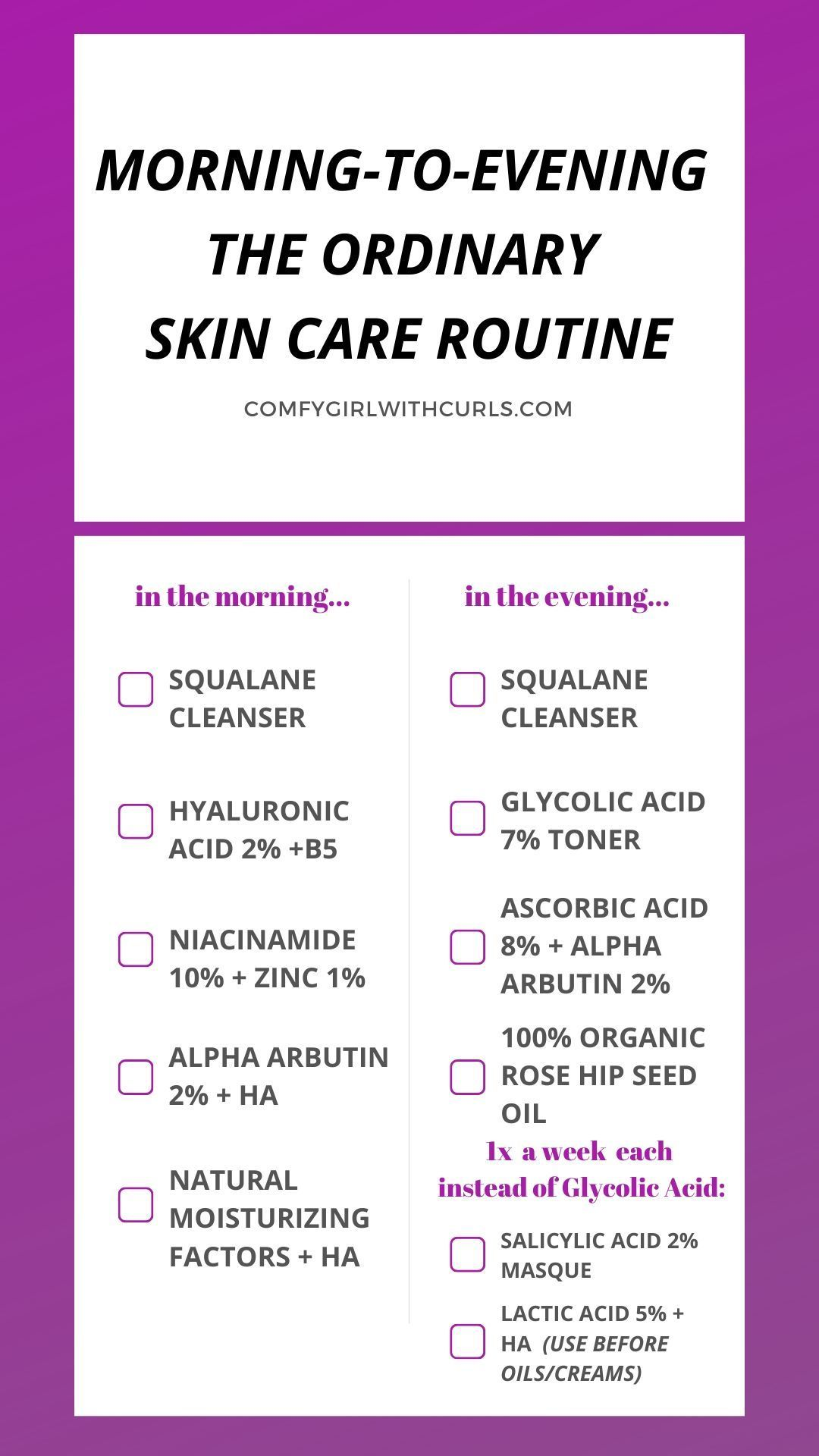 Morning To Evening Cheat Sheet The Ordinary Skin Care Regimen For Acne Prone Brown Skin See The Step In 2020 Skin Care Acne Acne Prone Skin Morning Skin Care Routine