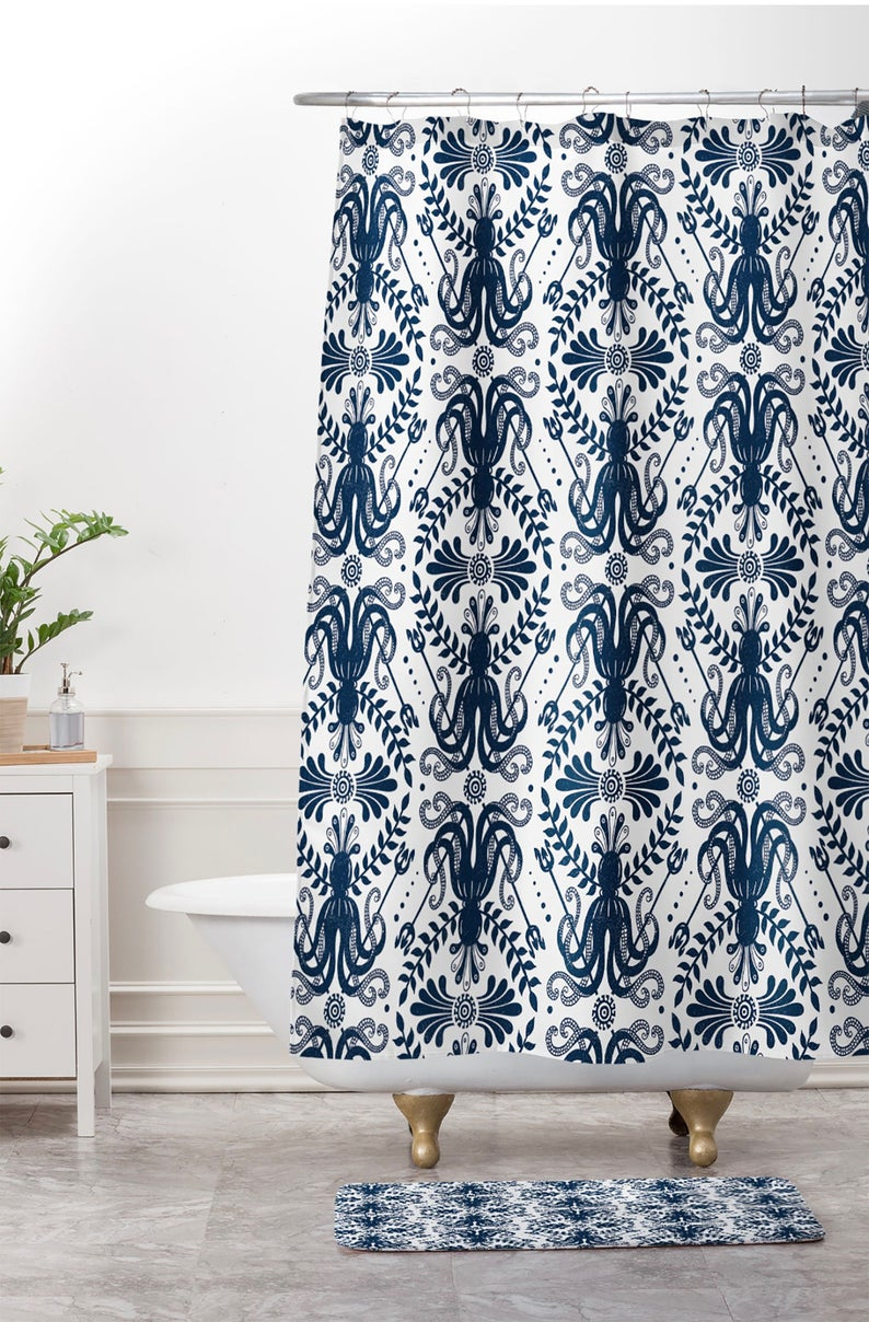 Nautical Damask Shower Curtain Coastal Decor Bathroom Decor