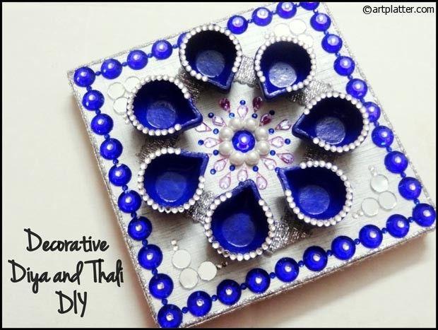 Decorative Diya And Thali Set Tutorial Diwali Craft Diy