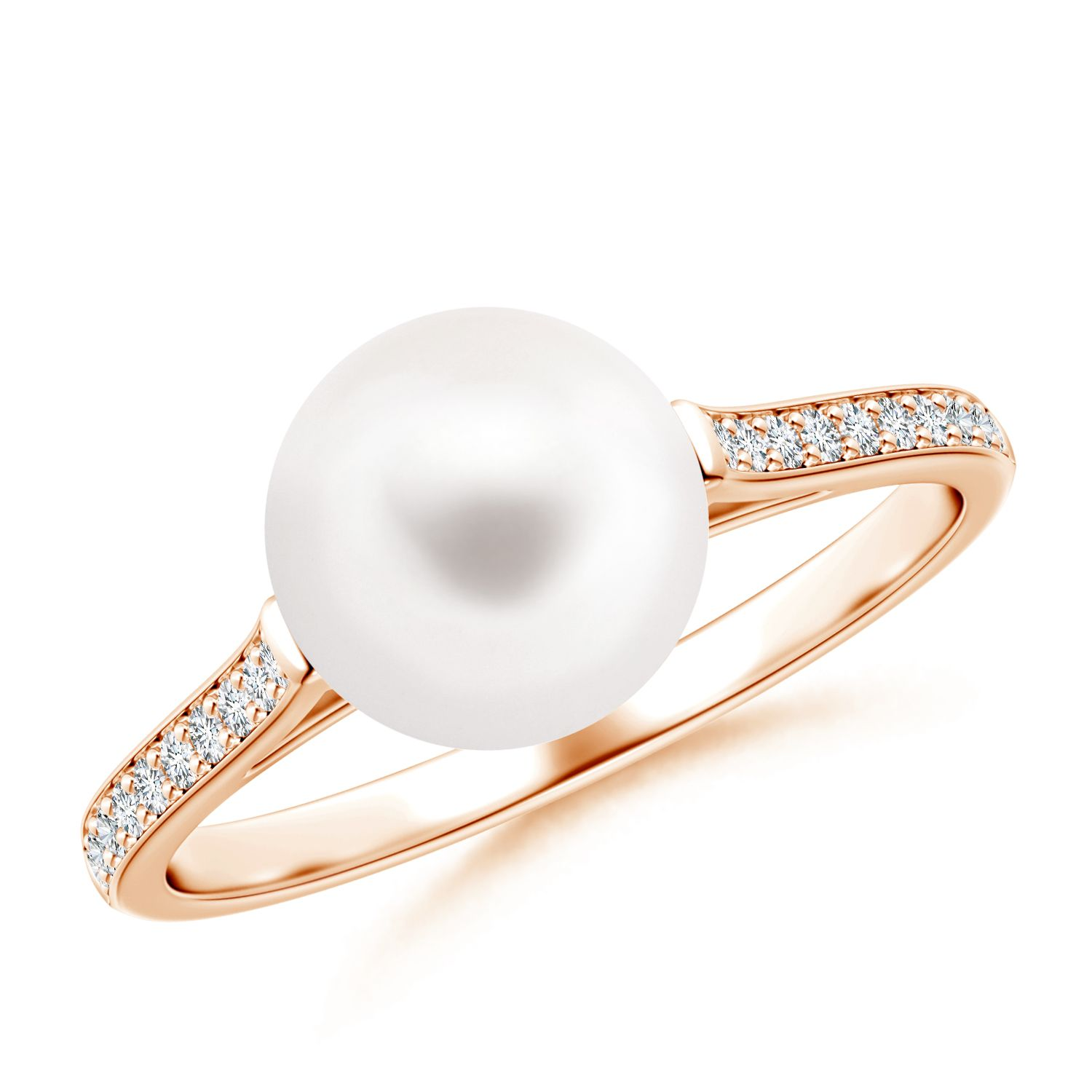 Angara Solitaire Freshwater Cultured Pearl Bypass Ring with Diamonds Rx1dVZo