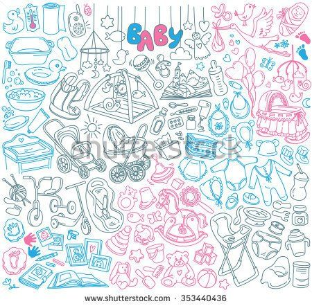 Newborn infant themed doodle set. Baby care, feeding, clothing, toys, health care stuff, safety, furniture, accessories. Vector drawings isolated on white background.